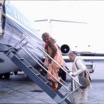 Srila Prabhupada on airplane