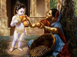 krsna with fruit woman