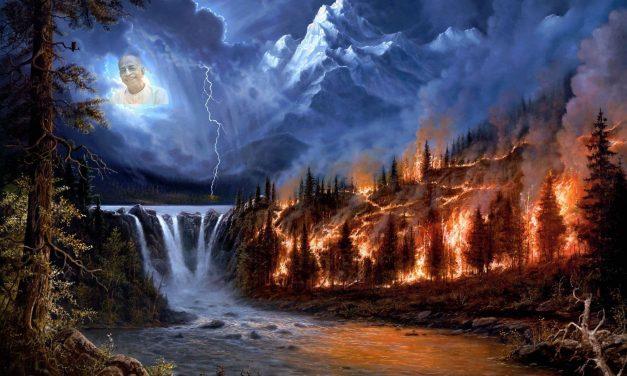 गुरु दावानल को बुझाने वाले मेघ हैं और श्रवण-कीर्तन, जल है